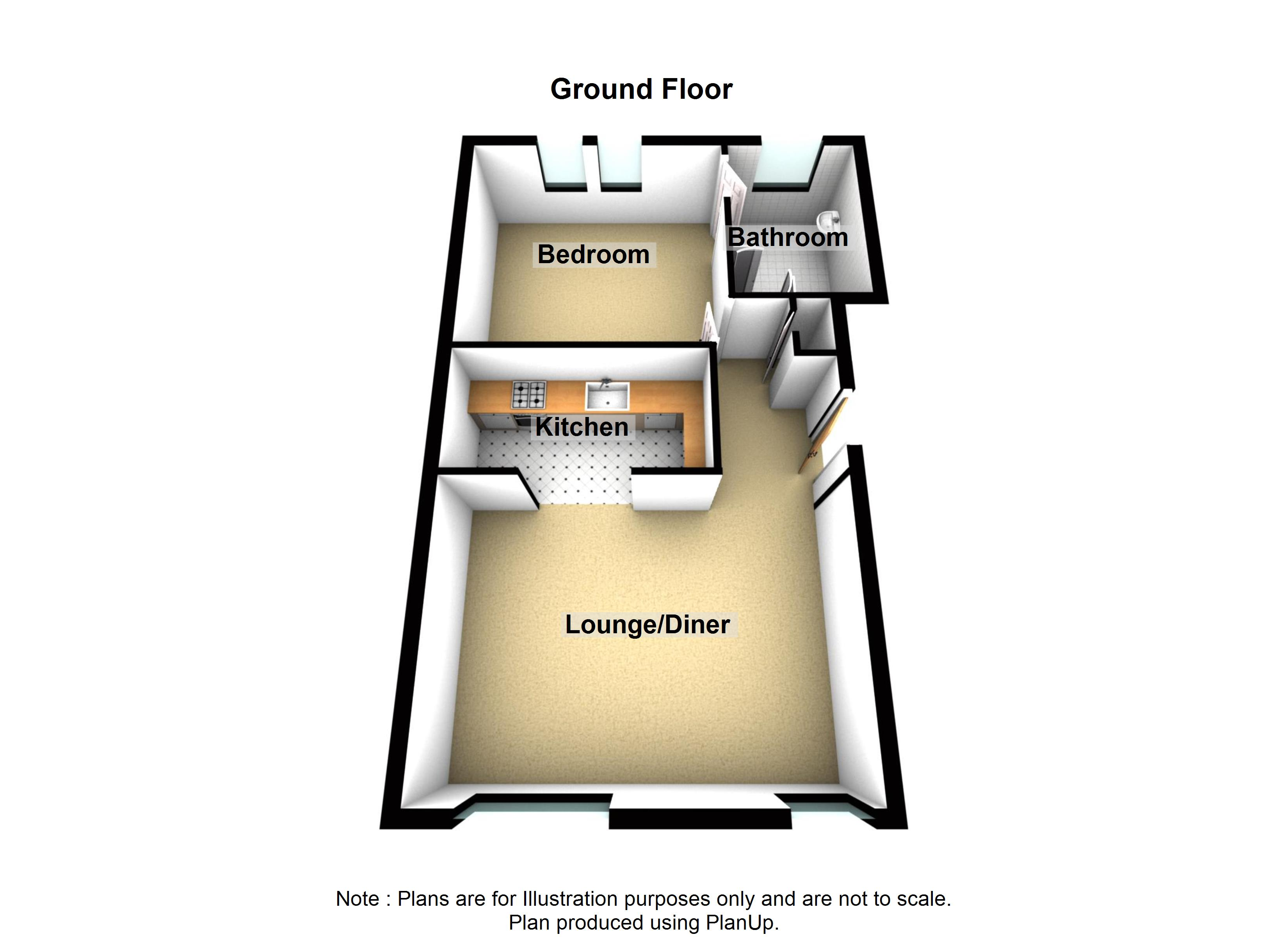 2 Cherry Tree Apartment Holiday Cottage Beadnell Northumberland floor plan