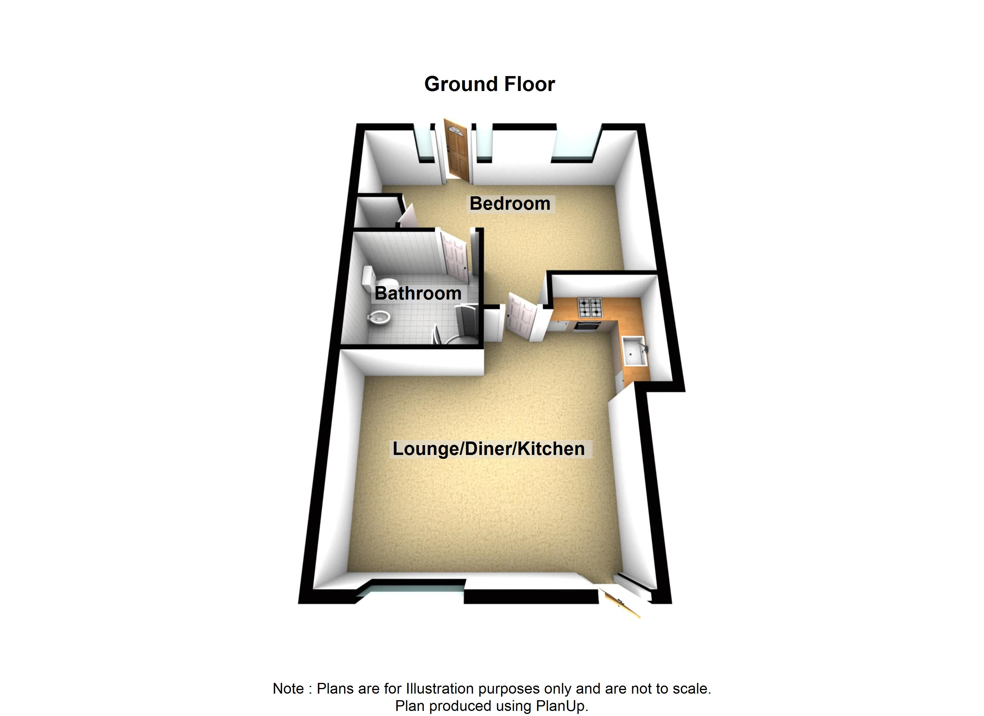 1 Cherry Tree Apartment Holiday Cottage Beadnell Northumberland floor plan