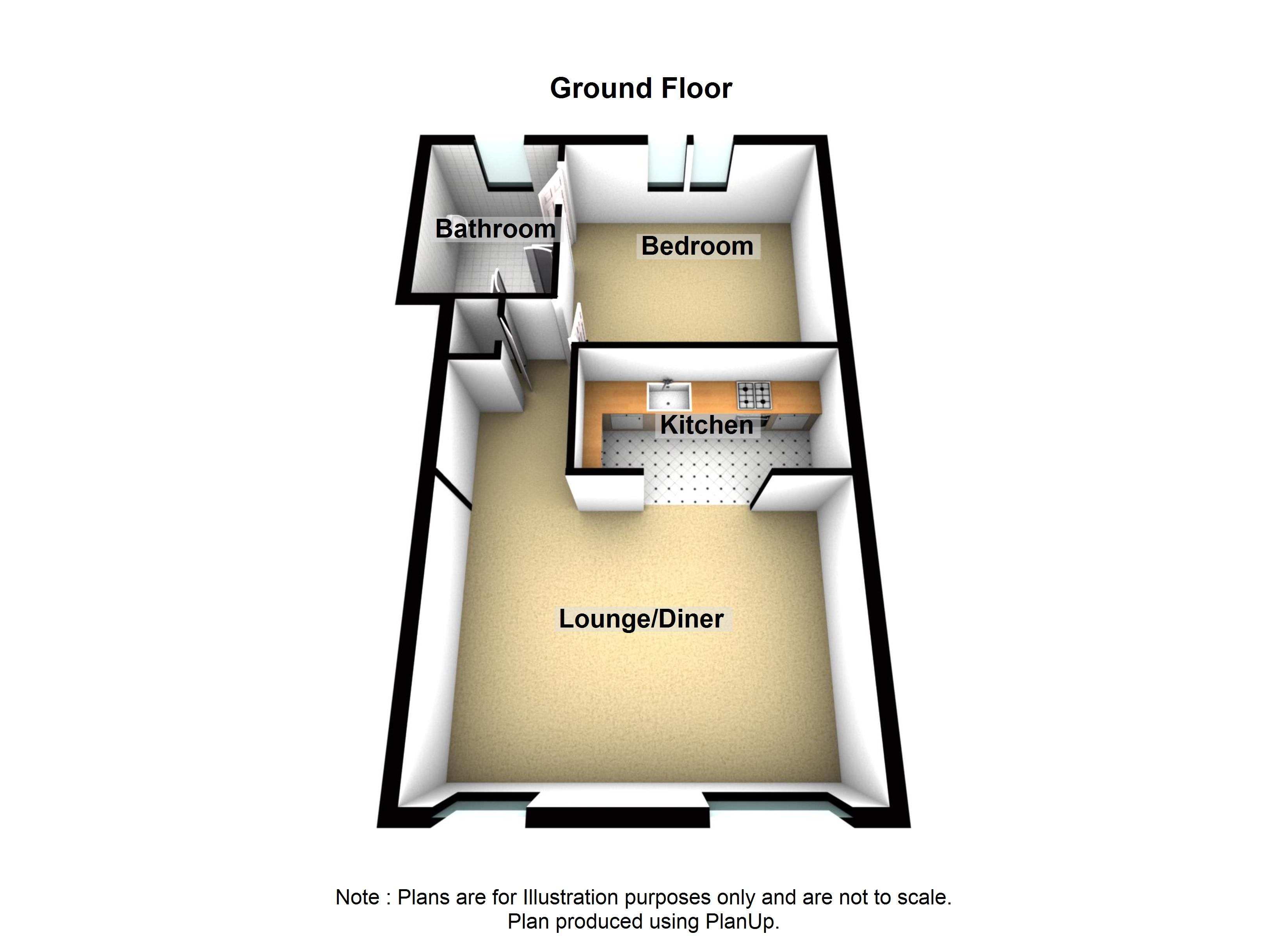 3 Cherry Tree Apartment Holiday Cottage Beadnell Northumberland floor plan