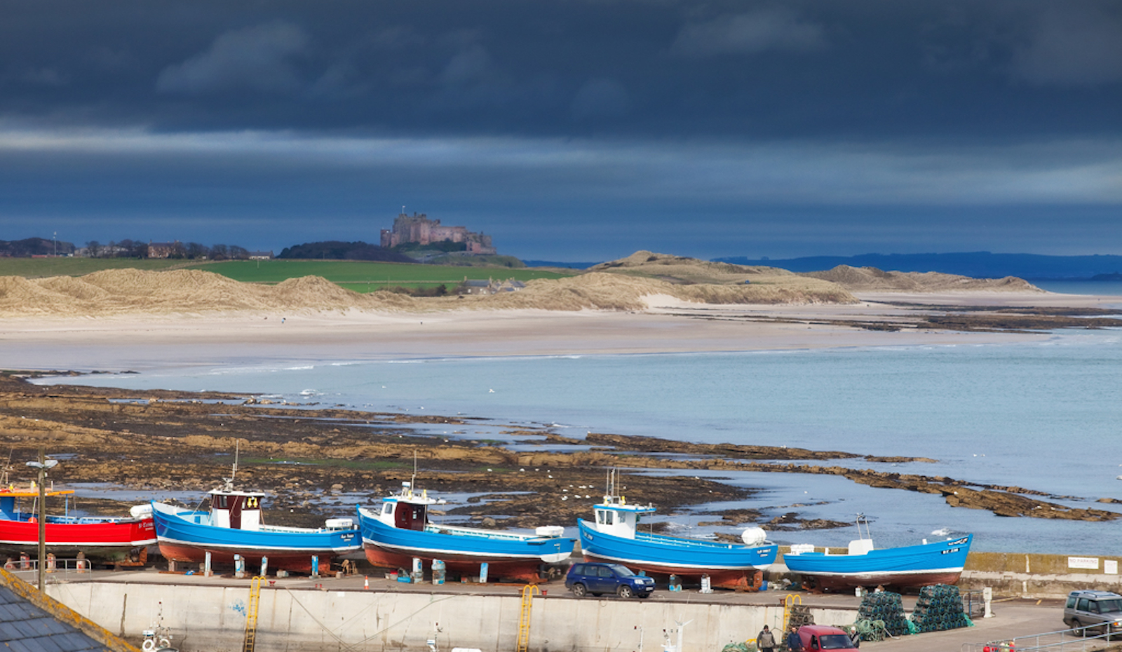 seahouses beach, bamburgh castle northumberland